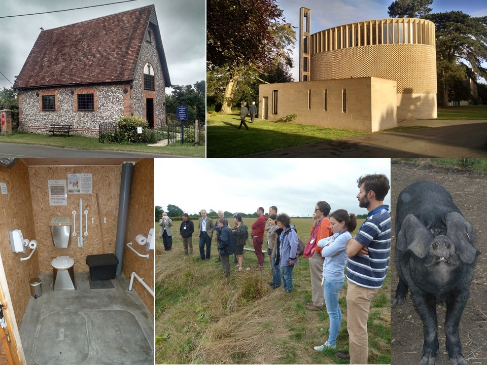 From Top Right, clockwise: Chapel at Cuddesdon; Pig at Orchard View Farm; CRES group at Natural Burial Ground; inside the composting toilet ; St Peter's Owlswick.